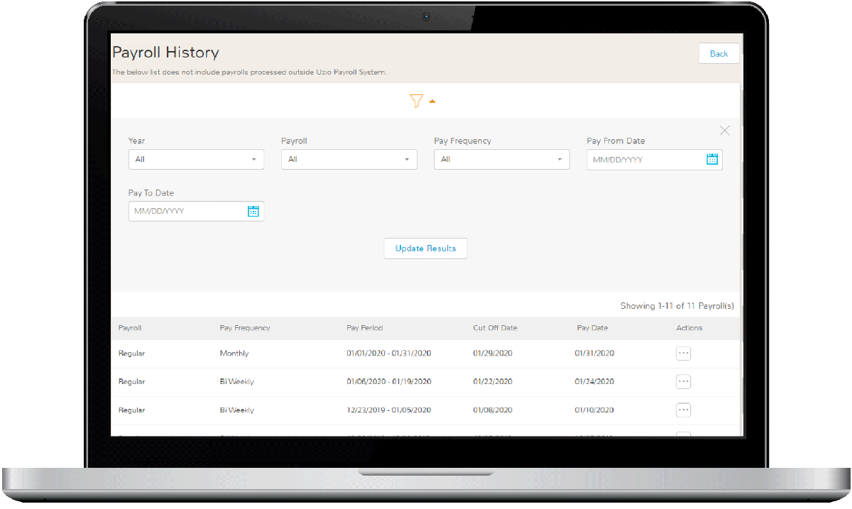 Payroll History Dashboard